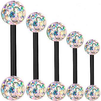 Piercing Bar Black Titan 1,2 mm, Multi Kristallkugel Aurora Borealis   6-16 mm