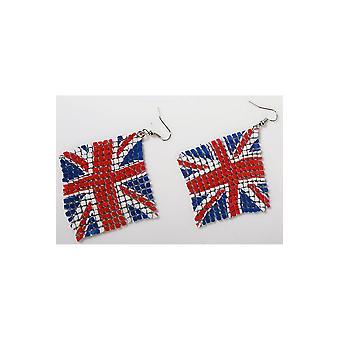 Coronas y joyas pendientes bandera inglesa UK