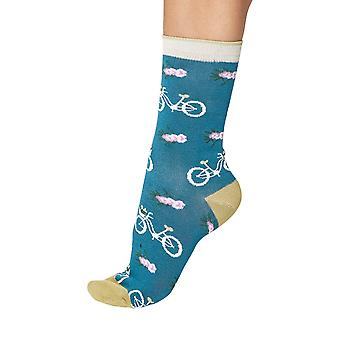 Vintage bike women's soft bamboo crew socks in kingfisher | By Thought