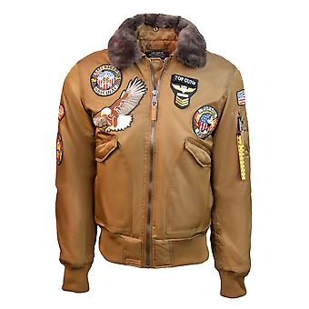 Top Gun MA-1 American Original Bomber Jacket With Patches Coyote