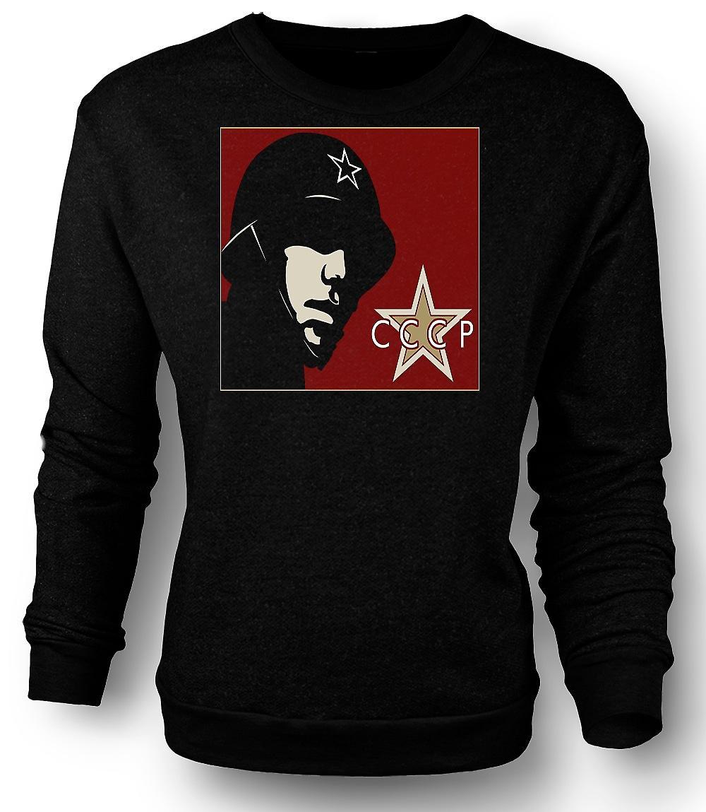 Mens Sweatshirt CCCP russisk - Propaganda plakat