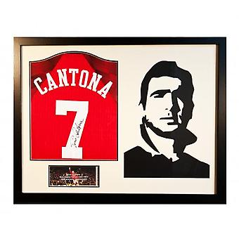 Manchester United Cantona Signed Shirt Silhouette