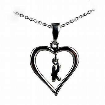 Silver 18x18mm initial K in a heart Pendant with a rolo Chain 20 inches