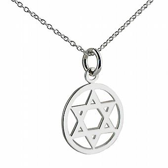 Silver 17mm plain Star of David Pendant with a rolo Chain 24 inches