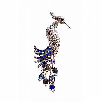 Lite & Dark Sapphire Rhinestone Silver Casting Peacock Brooch