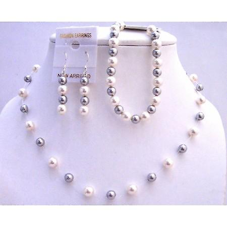 Silver Grey Pearls White Pearl Necklace Earrings Bracelet Necklace Set