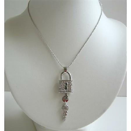Hip Hop Shimmering Key Lock Pendant w/ CZ Bling Necklace