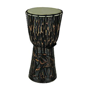 15 Inch Tall Hand Carved Elephant Djembe Drum