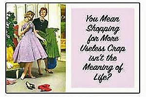 You Mean Shopping For More Useless Crap... funny fridge magnet