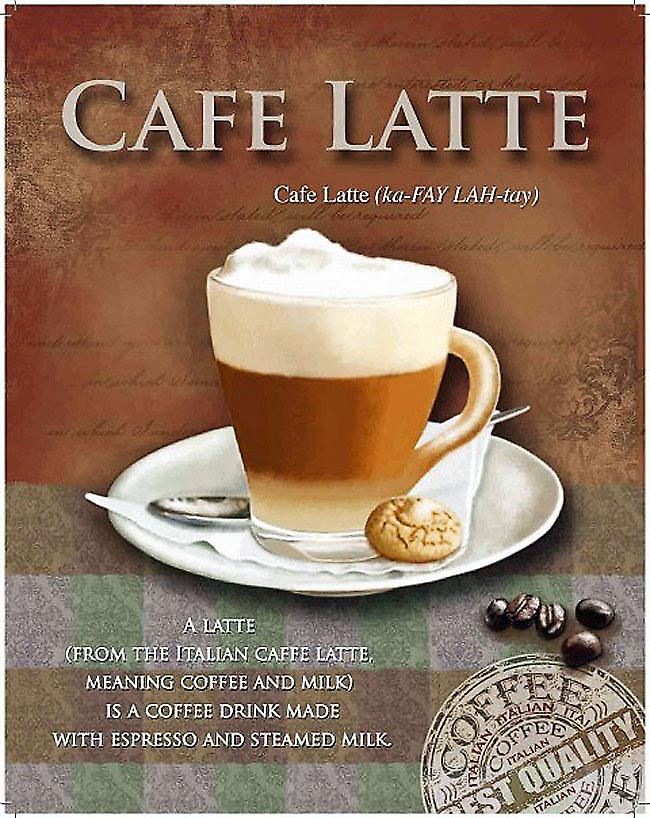 Cafe Latte steel wall sign  (og 3040)