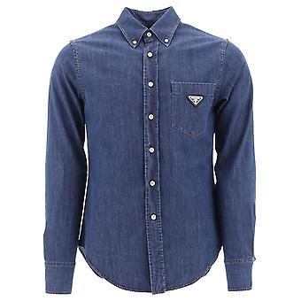 Prada Blue Cotton Shirt