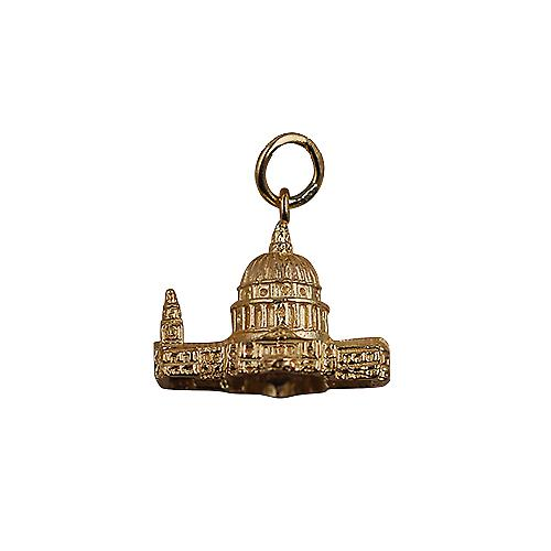 9ct Gold 15x19mm hollow St. Paul's Cathedral Pendant or Charm