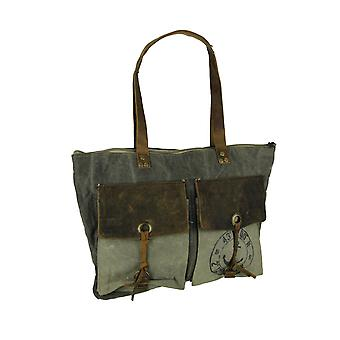 Canvas and Leather Vintage Style Rustic Nautical Print 2 Pocket Tote Bag