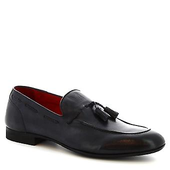 Leonardo Shoes Men's handmade tassel loafers in blue calf leather