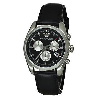 Armani Ar6009 Sportivo Black Leather Men's Watch