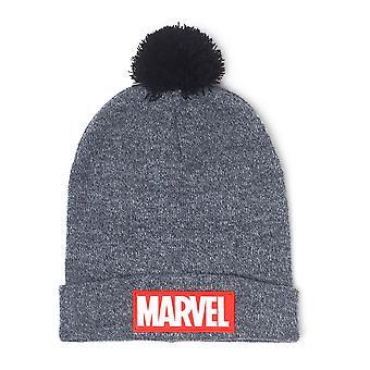 Marvel Beanie Logo  grau, bestickt, aus 100% Polyacryl, Erwachsenengröße.