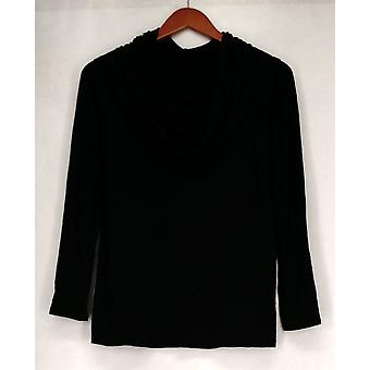 Kate et Mallory Top Long Sleeve Off The Shoulder Ruched Side Black A428923