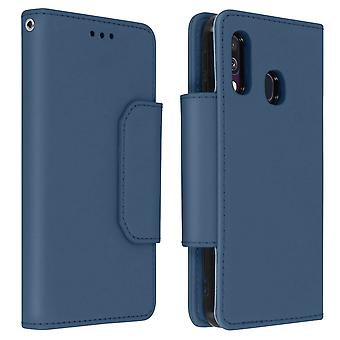 Magnetic Detachable Wallet Folio Case for Samsung Galaxy A40 - Dark Blue