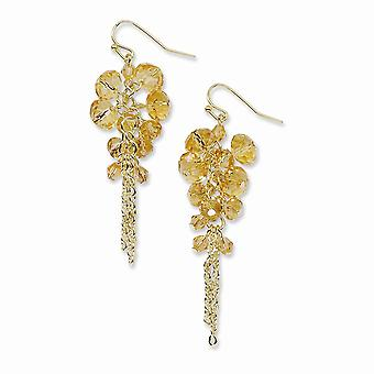 Gold-tone Shepherd hook Yellow Crystal Beaded Cluster Drop Earrings