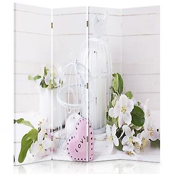 Room Divider, 4 Panels, Double-Sided, 360 ° Rotatable, Canvas, Flowers Love