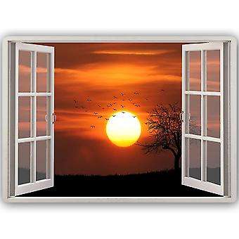 Metal Print, Window Sunset 2