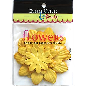 Eyelet Outlet Flowers 40/Pkg-Yellow FLW-F9A