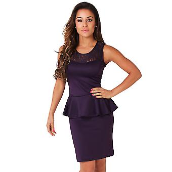 KRISP Womens Lace Panelled Peplum Dress