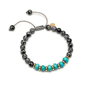 Lola Rose Trisha Bracelet Snowflake Obsidian and Natural Blue Magnesite