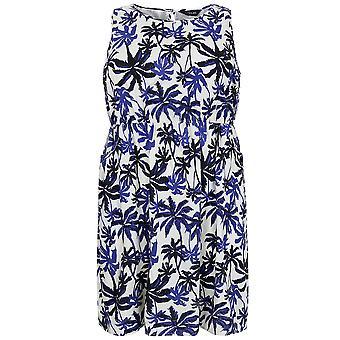 Cobalt & Ivory Palm Print Sleeveless Dress With Pockets
