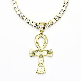 Tennis Necklace and 1.5 inch CZ Ankh Pendant