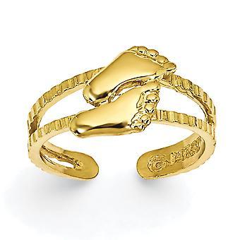 14 k geel gouden gepolijst voeten Toe Ring - 1,7 gram