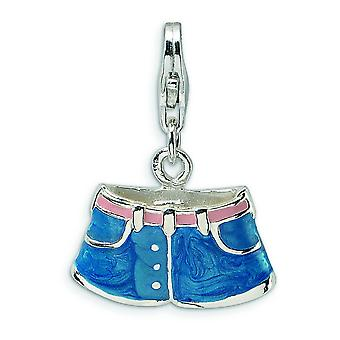 Sterling Silver 3-D Enameled Blue Jean Shorts With Lobster Clasp Charm - Measures 24x17mm
