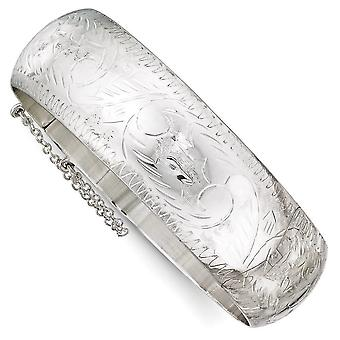 Sterling Silver Hollow Hinged Polished Flat back Sparkle-Cut Box Catch Closure 20mm Bangle Bracelet