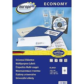 Europe 100 ELA021 Labels (A4) 105 x 48 mm Paper White 1200 pc(s) Permanent All-purpose labels Inkjet, Laser, Copier