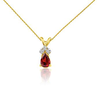 14k Yellow Gold Garnet Pear Pendant with Diamonds and 18