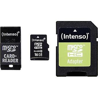 microSDHC card 16 GB Intenso Adapter Set Class 10 incl. SD adapter, incl. USB card reader