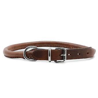 Heritage Leather Round Sewn Collar Chestnut 20-26cm Sz 1