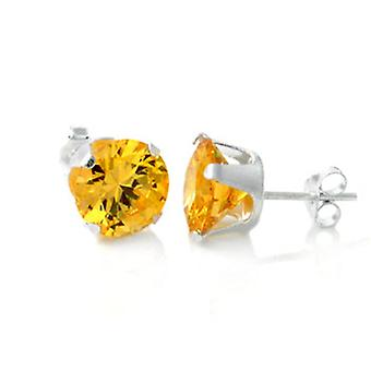 925 sterling silver Stud Earrings - round / yellow