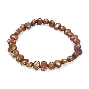 Brown Freshwater Cultured Pearl Stretch Bracelet Pearls Measure 6mm - 9mm.