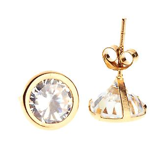 14 K Gold iced out Stud Earrings - BEZEL ROUND 7 mm