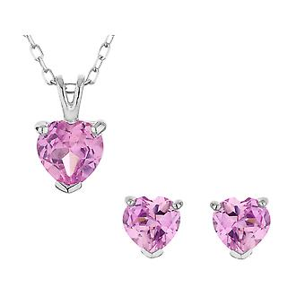 Created Pink Sapphire Heart Earrings and Pendant Set 1.50 Carat (ctw) in Sterling Silver