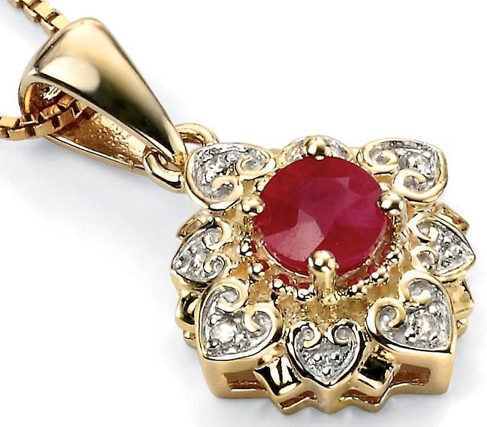 9Ct or With Ruby And Diamond Necklace