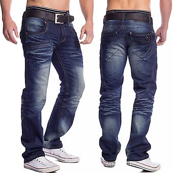 Men's Loose Fit Jeans Relaxed Denim Stonewashed failed dark blue straight