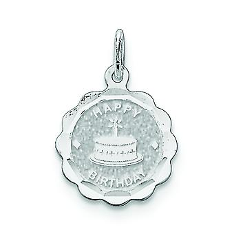 Sterling Silver Solid Faceted Engravable Happy Birthday Disc Charm - .9 Grams