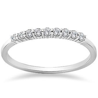 1 / 4ct 14 K vitguld diamant bröllop Stacker Guard Ring