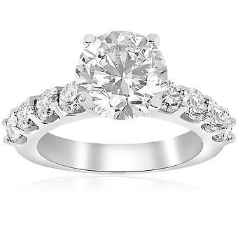 3 carat Enhanced Diamond Engagement halv evighet Ring 14K vitt guld