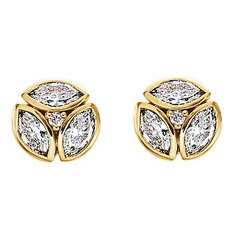 1/2cttw Marquise Diamond Cluster Studs 14k Yellow Gold