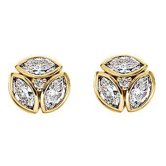 1/2cttw Marquise Diamanten Cluster Ohrstecker 14k Gelbgold