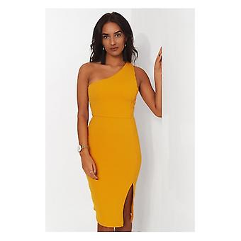 The Fashion Bible Grace Mustard One Shoulder Midi Dress