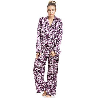 Camille Fuschia Pink blommig Satin Pyjamas Set